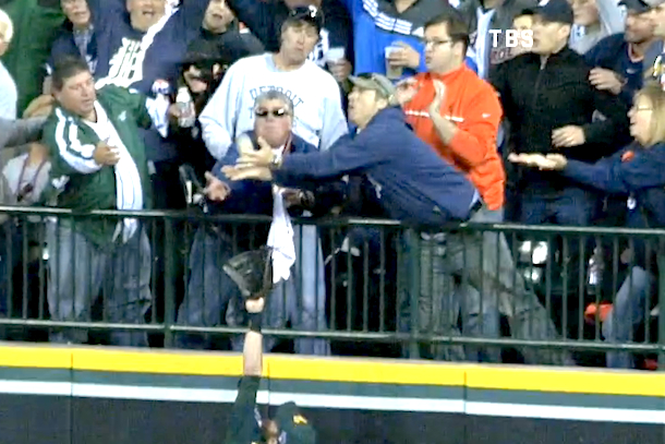 detroit tigers fans try to catch victor martinez home run ball