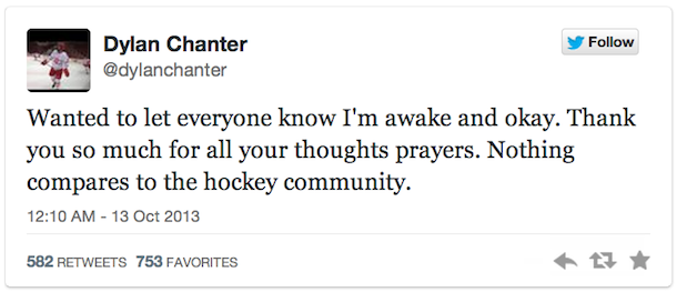 dylan chanter tweet ushl scary hockey fight