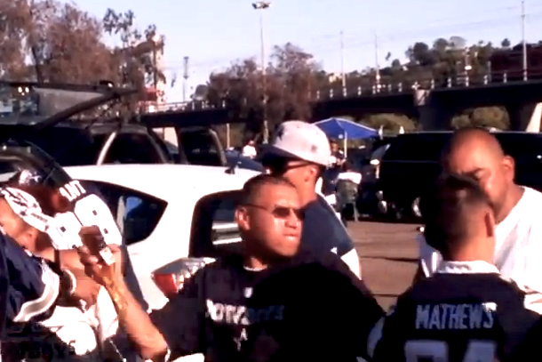 fan fight after chargers cowboys game