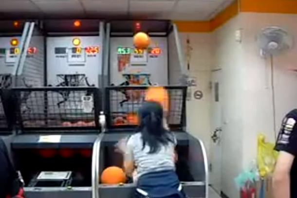 girl with amazing rapid fire basketball skills