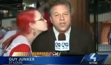 Cardinals Fan Videobombs Pittsburgh Reporter by Kissing Him (Video)