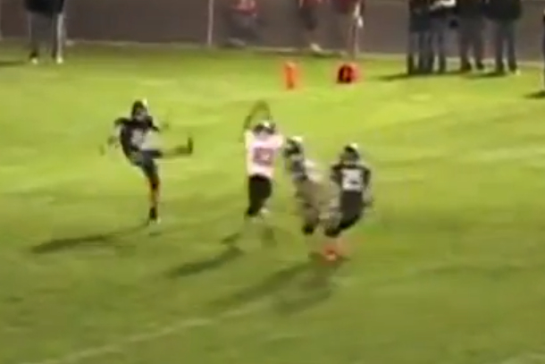 high school football player blocks two punts on one play
