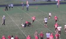 High School Football Player Looses Helmet After Bone-Crushing Block (GIF)