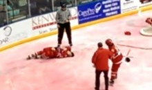 Junior Hockey Player Suffers Seizure After Hitting Head on Ice During Fight (Video)