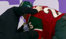 Wild Defenseman Jonas Brodin Takes a Puck to the Face (GIF)