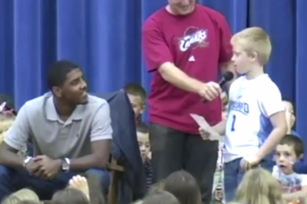 kid asks kyrie irving if he'll leave like lebron
