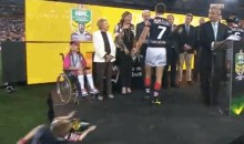 Kid Faceplants on Stage During National Rugby League Trophy Presentation (Video + GIF)