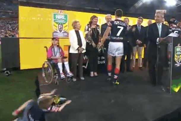 kid faceplants at nrl trophy ceremony