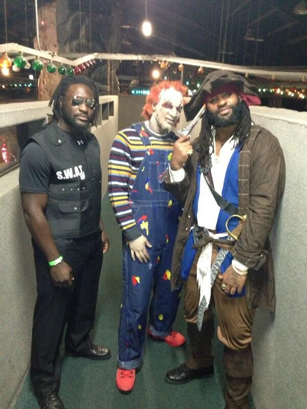legarrette blount, aqib talib, and brandson spikes halloween costumes
