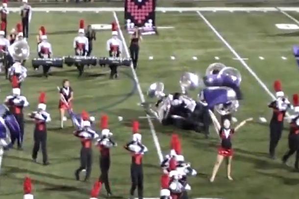 marching band fail tuba pileup