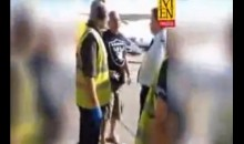Raiders Fan Gets Naked, Challenges Pilot to Fight Before Being Tased at Manchester Airport Tarmac (Video)