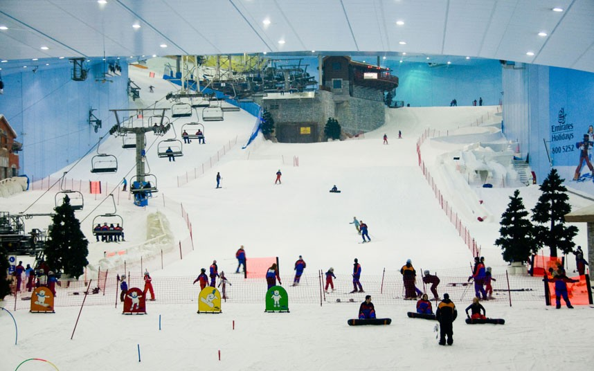 ski dubai indoor ski lodge slopes - weird sports venues