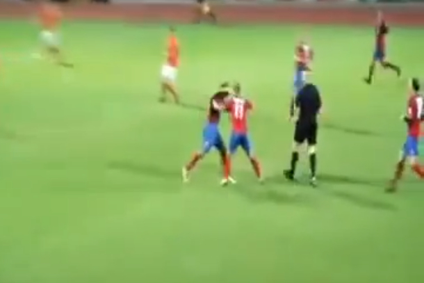 soccer teammates fighting each other