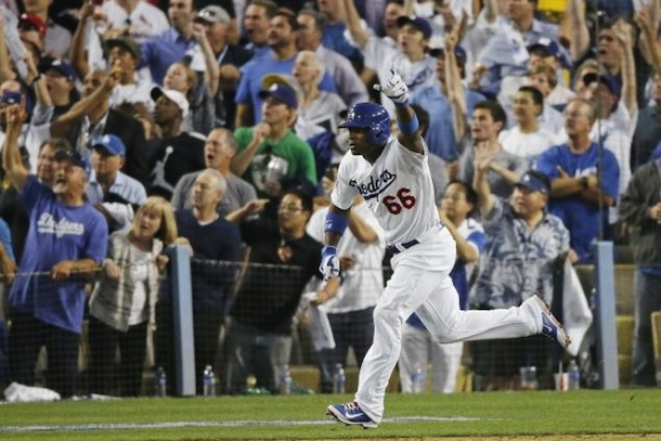 yasiel puig premature celebration - nlcs game 3 triple
