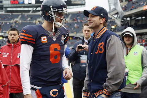 bears fan ashton kutcher with jay cutler