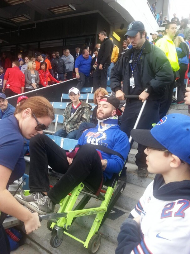 bills fan taken away on stretcher