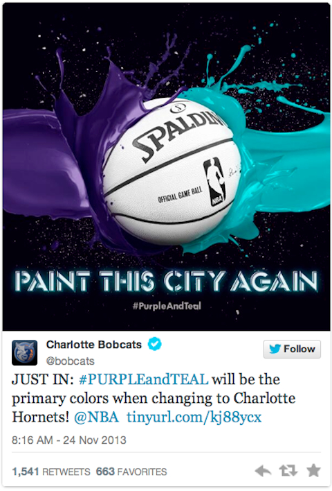 charlotte going back to purple and teal