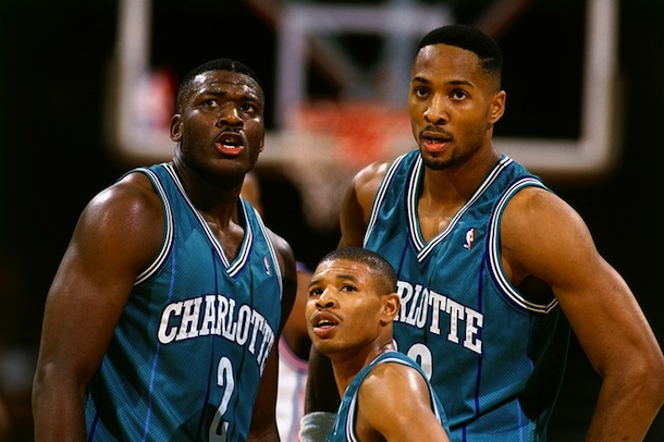 charlotte hornets (larry johnson, alonzo mourning, and mugsy bogues)
