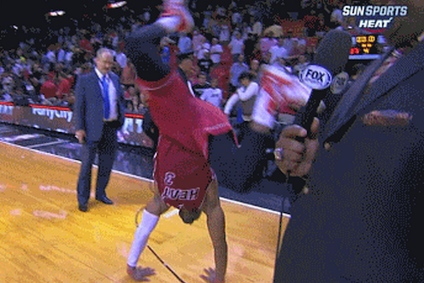 dwyane wade videobombs lebron with cartwheels