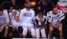 Tim Duncan Gets Mildly Pranked by Manu Ginobili on the Spurs' Bench (Video)