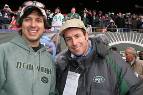 jets fans adam sandler and ray romano