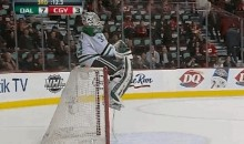 Stars Goalie Kari Lehtonen Was Chillin' on Top of His Goal During the Jamie Benn and Tyler Seguin Show Last Night (GIF)