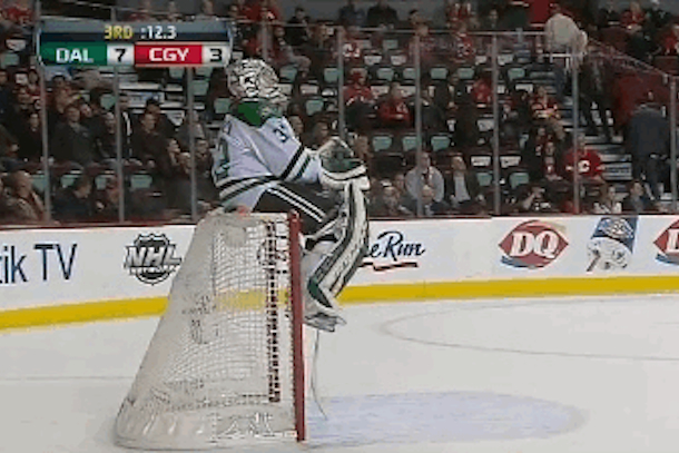 kari lehtonen sitting on top of goal