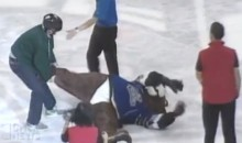 Belligerent Hockey Fan Brutally Attacks Beloved Mascot…Really (Video)