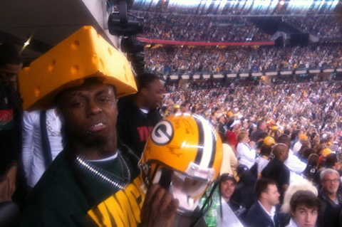 packers fan lil wayne wearing cheese head hat