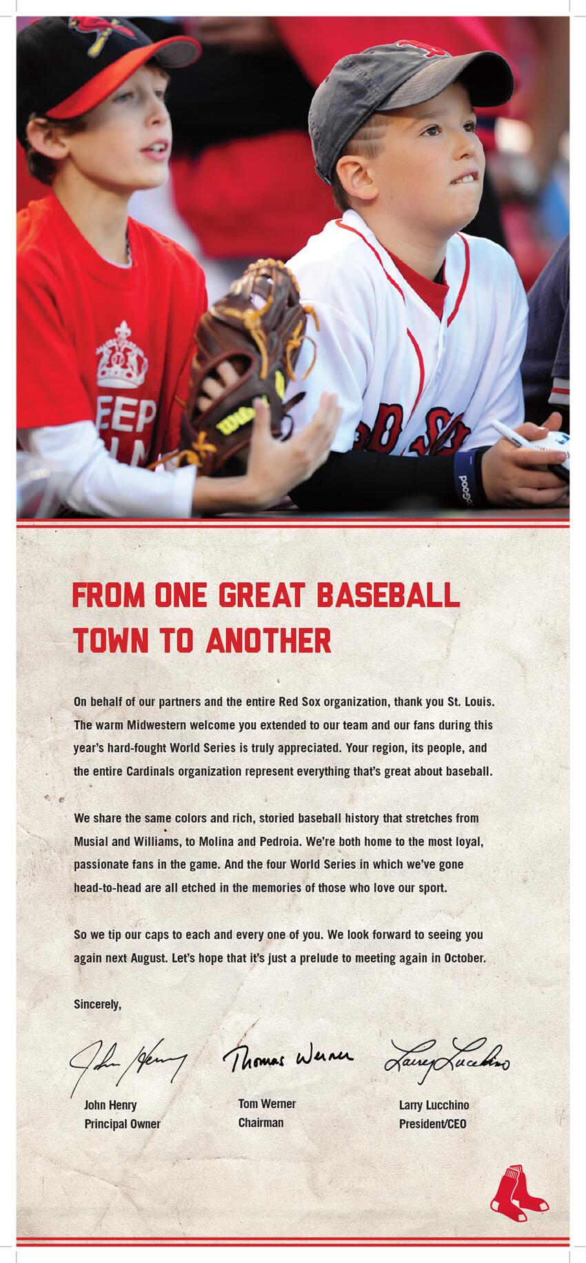 red sox full page ad thanking cardinals and st. louis