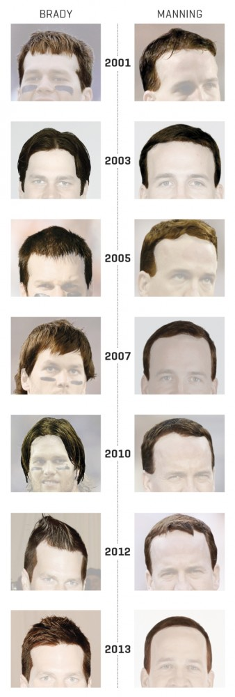 tom brady vs peyton manning hair styles