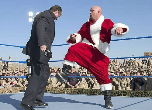 3 stone cold steve austin dressed as santa - athletes dressed as santa clause