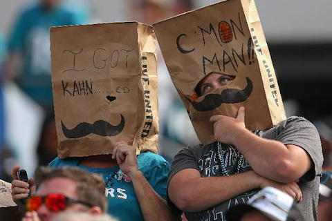 4 sad jacksonville jaguars fans - worst places to be a sports fan (worst sports cities) 2013