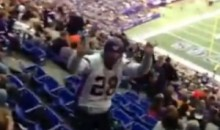 Watch a Drunk Vikings Fan Fall Down a Few Rows of Seats and Spill His Beer (Video)