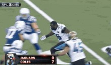 Jags' LaRoy Reynolds Makes Helmetless Tackle (GIF)