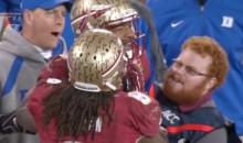 "FSU ""Red Lightning"" Greets Jameis Winston After Hit (GIF)"