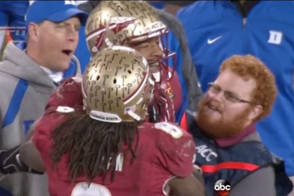 fsu red lightning greets jameis winston after hit gif total