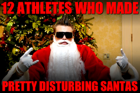 athletes dressed as santa