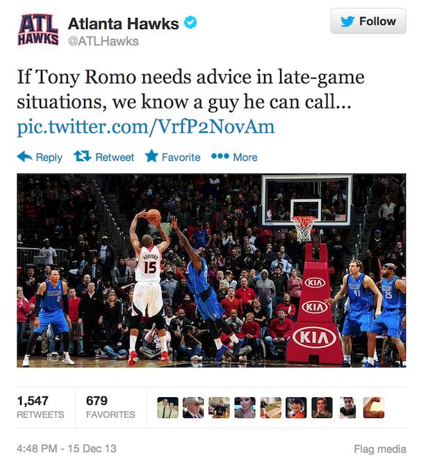 atlanta hawks troll tony romo on twitter