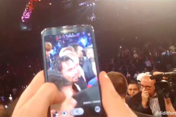 boston guy sneaks into ring after pacquiao rios fight
