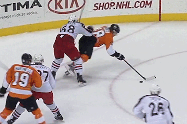 claude giroux amazing backhanded goal