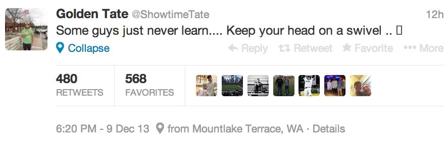 golden tate tweet about brandon marshall hit on sean lee