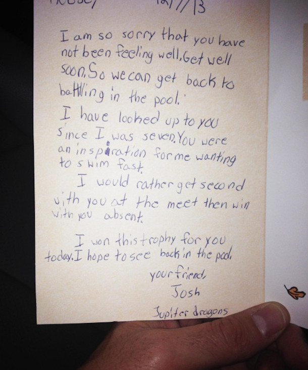 heart-warming sports story - swimmer writes note to sick rival