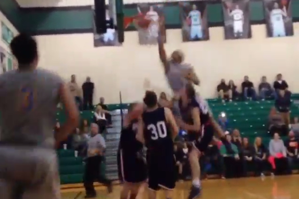 huntington prep double alley oop dunk