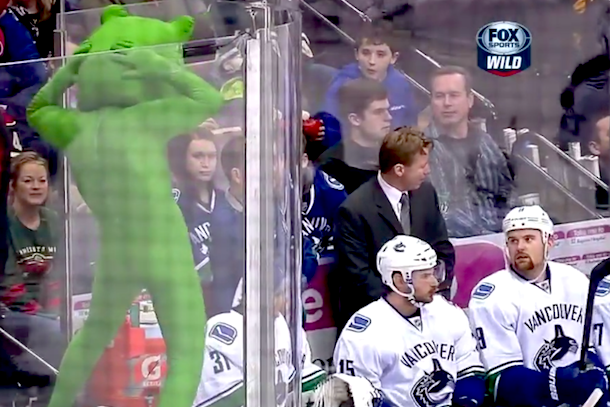 minnesota wild mascot makes fun of vancouver green men
