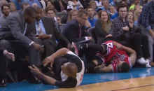 NBA Referee Gets Taken Out by a Flagrant Flop (Video)