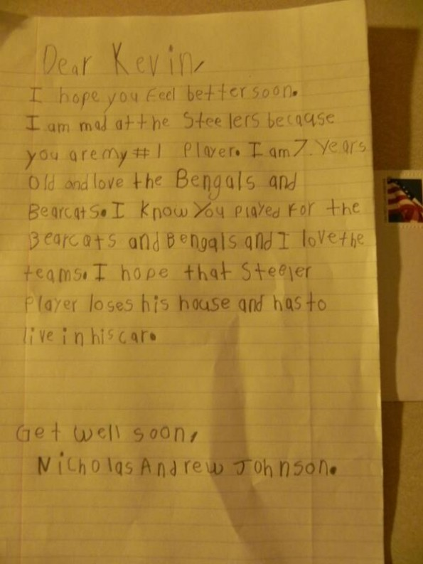 seven year old's letter to kevin huber