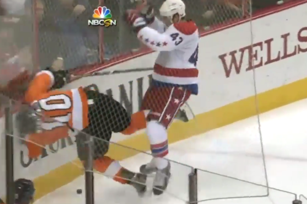 tom wilson checks brayden schenn into boards from behind