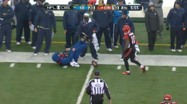 Andrew Hawkins Knocks Over Ball Boy