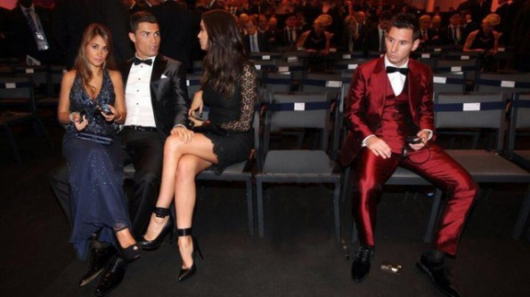 Cristiano Ronaldo Lionel Messi and girlfriends photoshopped